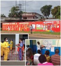 Left: Typical Ebola educational mural in Monrovia, Liberia. Inset: Left; Dr. Phuoc Le doffing personal protective equipment at CDC Ebola training in Atlanta prior to departure. Right; Rural Liberian healthcare workers doing exercises as part of hospitalist-led Ebola trainings.