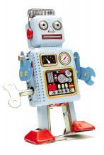 A retro toy robot.