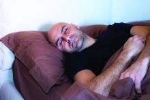 A man sleeps