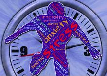 Silhouette filled with words about stress overlays a clock